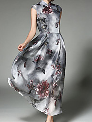 Women's Casual/Daily Simple Swing Dress,Floral Print Halter Maxi Sleeveless Wool Cotton Spring Summer High Rise Inelastic Medium
