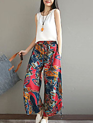 Women's Low Rise Inelastic Loose Pants,Vintage Wide Leg Print