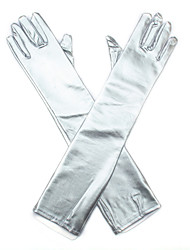 Silver Bridal Party Glove Elbow Length Gloves with DIY Artifical Pearls Rhinestones for Wedding Dress Accessories