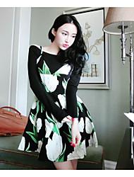 Для женщин Зима Вязаная ткань Платья Костюмы Вырез лодочкой Длинный рукав