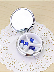 Pill Organizer Box of Medicine Silver Round Metal Boxes Pill Box for Travel Pocket or Purse
