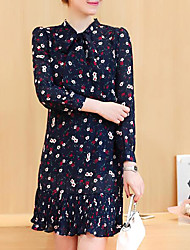 Women's Going out Casual/Daily Cute Spring Summer Blouse,Floral Print Round Neck Long Sleeve Chiffon Medium