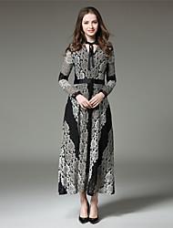 SUOQI Women Dress Stand Collar Long Sleeve High Rise Was Thin Lace Swing Dress Spring Fall Maxi Long Skirt