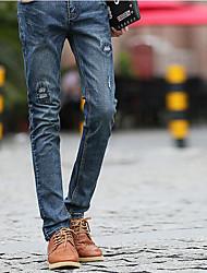 Men's Mid Rise Micro-elastic Jeans Pants,Simple Slim Denim
