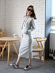 Women's Casual/Daily Simple Fall T-shirt Skirt Suits,Solid Hooded Long Sleeve Micro-elastic