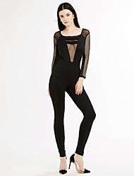 Women's Formfitting Mesh Cut out Back Jumpsuit