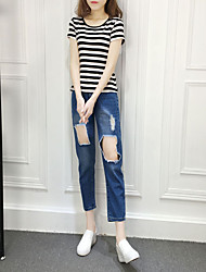 Women's Mid Rise Inelastic Harem Jeans Pants,Simple Harem Solid