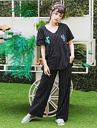 Женский летний короткий рукав пижамы набор полосатый кактус шаблон уютный пижамы