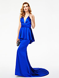 TS Couture Formal Evening Dress - Celebrity Style Open Back Trumpet / Mermaid Halter Sweep / Brush Train Stretch Satin with Bow(s) Pleats