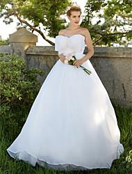 Robe de bal robe sans bretelles / train à brosse organza robe de mariée avec arc
