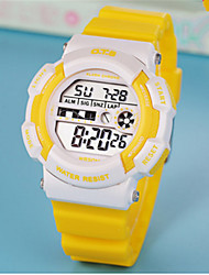 Kids' Digital Watch Chinese Digital Rubber Band Casual Blue Yellow Rose