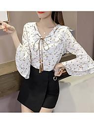 Для женщин Повседневные Лето Блуза V-образный вырез,Простое Цветочный принт С принтом Длинный рукав,Другое Шифон