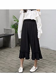 Women's High Waist strenchy Loose Pants,Simple Relaxed Solid