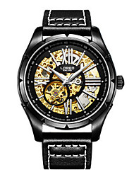 Men's Skeleton Watch Fashion Watch Mechanical Watch Quartz Automatic self-winding Leather Band Black