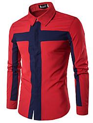 Men's Casual Daily Work Lapel Splicing Color Geometric Pattern Print Long Sleeve Cotton Thin Shirt