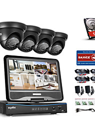 SANNCE® 4CH 1080P LCD DVR Weatherproof Home Surveillance Security System Supported 720P Analog AHD TVI IP Camera With 1TB HDD