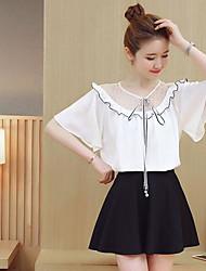 Для женщин На выход Лето Рубашка Юбки Костюмы V-образный вырез,Милые Однотонный С короткими рукавами