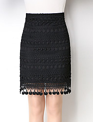 Women's Knee-length Skirts,Sexy Simple Bodycon Pure Color Lace Tassel Jacquard Solid