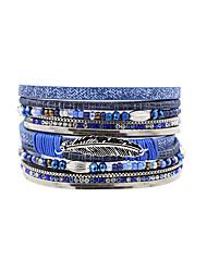 Fashion Women Multi Rows Metal Leaf   Crystal Beads Spring  Magnet Leather Bracelet