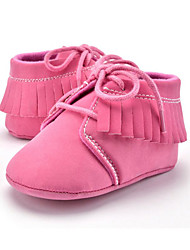 Baby Kids' Loafers & Slip-Ons First Walkers Microfibre Summer Fall Party & Evening Dress Casual Lace-up Tassel Flat Heel Khaki Blushing Pink