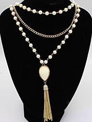 Pendant Necklaces  Layered Necklaces Women's Girls' Euramerican Elegant Luxury Pearl Tassel Layered Necklaces Party Daily Movie Jewelry