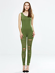 Women's Solid Cut Out Bodycon Jumpsuits,Sexy U Neck Sleeveless