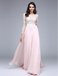 A-Line Bateau Neck Sweep / Brush Train Chiffon Prom Formal Evening Dress with Appliques by TS Couture®