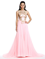 TS Couture Formal Evening Dress - See Through A-line Jewel Sweep / Brush Train Chiffon with Appliques Sequins