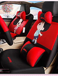Car Seat Cushion Car Ceat Cushion Cets Of Family Car Cartoon Cute Ice Silk Cloth Material Black And Red