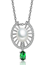 May Polly Stylish elegant micro drill pearl pendant long Zircon Necklace