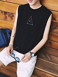 Men's Casual/Daily Simple Tank Top,Letter Round Neck Sleeveless Cotton