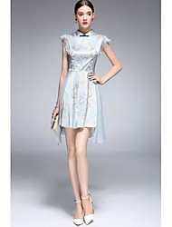 Gaine Robe FemmeImprimé Mao Asymétrique Sans Manches Taffetas en Polyester Printemps Eté Taille Normale Micro-élastique Fin