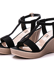 Women's Sandals Club Shoes Synthetic Summer Casual Wedge Heel Ruby Coffee Black 3in-3 3/4in