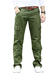 Men's Mid Rise Micro-elastic Active Chinos PantsSimple Loose Straight Solid CR-7101
