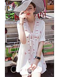 Tee-shirt Femme,Couleur Pleine simple Manches Courtes Col en V Coton