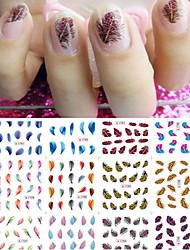 12 Pcs/set Feather Water Transfer Nail Polish Stickers