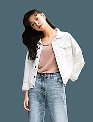 Feminino Jaqueta jeans Casual Simples Primavera,Sólido Curto Algodão Colarinho Chinês Manga Longa