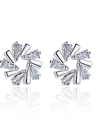 Boucles d'oreille goujon Zircon cubique Fleurs Argent sterling Bijoux Pour Mariage Soirée Quotidien Décontracté 1 paire