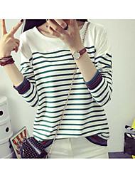 Damen Solide Street Schick T-shirt,Rundhalsausschnitt ¾-Arm Seide