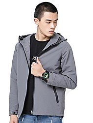 Men's Daily Casual Simple Nature Inspired Spring/Fall Jacket,Solid Hooded Long Sleeve Regular Polyester Taffeta