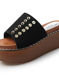 Women's Slippers & Flip-Flops Suede Summer Walking Beading Flat Heel Black Light Grey 3in-3 3/4in