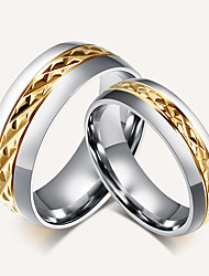 2 PCS  Couple's Ring Band Rings Vintage Simple  Elegant Titanium Steel 18K gold Ring Jewelry For Wedding Party Anniversary Gift Daily