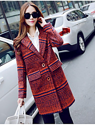 Women's Daily Artistic Spring/Fall Trench Coat,Striped Peaked Lapel Long Sleeve Long Cotton