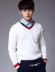 Для мужчин Простое Обычный Пуловер Однотонный,V-образный вырез Длинный рукав Хлопок Осень Средняя Слабоэластичная