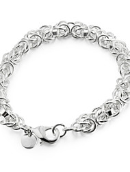 Sweet 20cm Women's Silver Copper Chain & Link Bracelet(Silver)(1 Pc) Jewelry Christmas Gifts