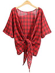 Для женщин На каждый день Большие размеры Лето Рубашка Свободный вырез,Простое В клетку С короткими рукавами,Хлопок Искусственный шёлк,