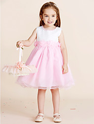 Princess Knee-length Flower Girl Dress - Cotton Polyester Lace Jewel with Beading Bow(s) Flower(s) Lace Pearl Detailing