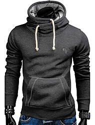 Men's Sport Daily Vintage Sweatshirt Solid Embroidered Hooded strenchy 100%Cotton Long Sleeve Fall Winter