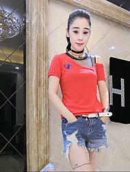 Tee-shirt Femme,Couleur Pleine Mignon Manches Courtes Epaules Dénudées Coton