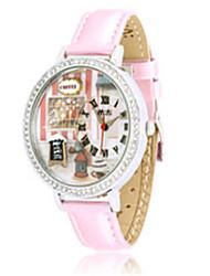 Women's Fashion Watch Quartz PU Band Pink